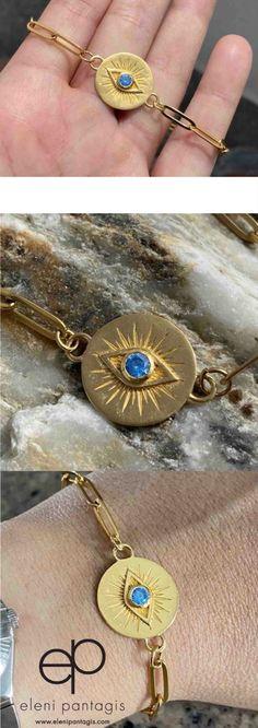 Jewelry Party, Costume Jewelry, Handmade Bracelets, Handmade Jewelry, Antique Jewelry, Silver Jewelry, Greek Evil Eye, Blue Topaz Stone, Greek Jewelry