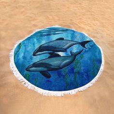 New Round Beach Towels! • Maui's Dolphin watercolor art by wildlife artist Amber Marine ••• AmberMarineArt.com
