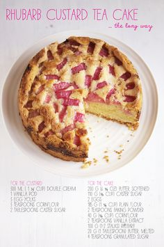 A stunning Rhubarb Custard Tea Cake with a thick custard layer baked in the centre of the cake. Delight your family and friends with this beautiful rhubarb cake. Baking Recipes, Cake Recipes, Dessert Recipes, Pudding Recipes, Baking Ideas, Tea Cakes, Cupcake Cakes, Cupcakes, Rhubarb Recipes