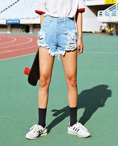 Shop here : sthsweet.com  #denim #dress #teen #cute #blue #style #chic #girl #street #skirt #jeans #skater
