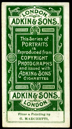 "Adkin's Cigarettes ""Soldiers of the Queen & Portraits"" (set of 31 issued in 1901)"