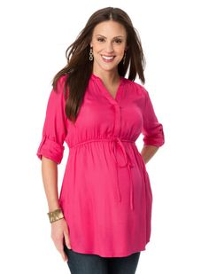 Convertible Sleeve Tie Front Maternity Tunic. This would be great for the summer evenings!