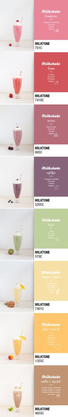 One milkshake a day via Pop and Soda. Ma palette de vitamines curated by Packaging Diva PD. This really isn't packaging but I couldn't resist these smoothies in Pantone colors including the recipe too Milk Shakes, Juice Smoothie, Smoothie Bowl, Healthy Eating Tips, Healthy Nutrition, Vegetable Drinks, Summer Drinks, Healthy Smoothies, Love Food