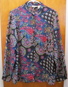 White Stag Womens Paisley Blouse Size Large Sheer Button Up Floral Black Shirt  #WhiteStag #Blouse #Casual