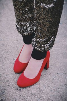 red heels sequin pants!