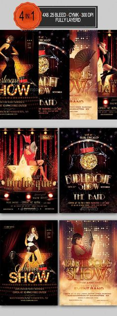 Buy Burlesque and Cabaret Flyer Bundle by seasonOFTHEflowers on GraphicRiver. with bleed, CMYK, 300 DPI Files included: 4 PSD Editable File , Help File. Editable Model not included L. Free Flyer Templates, Business Flyer Templates, Print Templates, Graphic Design Brochure, Graphic Design Fonts, Print Design, Cabaret, Create Flyers, New Flyer