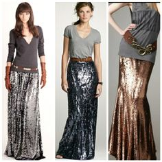 Sequin maxi skirt with a t-shirt.  Love!