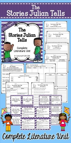 Everything you need to teach The Stories Julian Tells, a CCSS text exemplar for Grades 2 and 3!  Comprehension questions, graphic organizers, vocabulary, games, fluency task cards, and fun extension activities!  Common Core aligned for Grades 2 and 3.