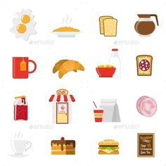 Breakfast Icons Set by macrovector Breakfast icons set with sandwiches milk and coffee flat isolated vector illustration. Editable EPS and Render in JPG format