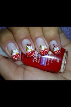 Nude nails with Red French manicure style tips with free hand white polka dots, white flowers and lady bugs 30 Trendy Nail Art 30 Trendy Nail Art Easter Nail Designs, Easter Nail Art, Nail Art Designs, Nails Design, Pedicure Designs, Hair Designs, Spring Nail Art, Spring Nails, Summer Nails