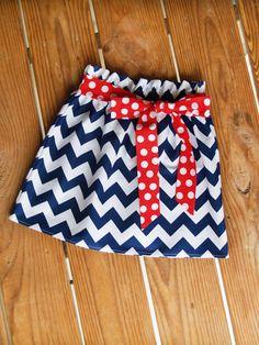 Navy Chevron Skirt with Red and White Dots Tie Belt, Made to Order, Baby Girl Skirt, Summer Skirt, Twirl Skirt, Toddler Skirt. $22.00, via Etsy.