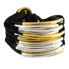 Gillian Julius Large Multi Tube Bracelet, Gold & Silver | Black Cord. Multi strand bracelet consisting of 30 waxed cotton cords. Each cord of bracelet features either a silver or gold tube. $319