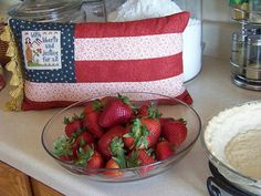 Cross Stitch Project:  Flag pillow finish......what a cute way to finish a small patriotic piece......