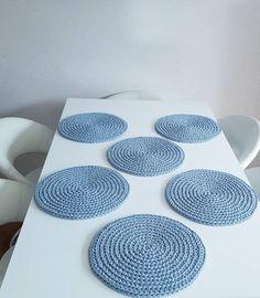 Blue mist crochet washable desk placemats established home decor kitchen Crochet Table Mat, Crochet Placemats, Crochet Rope, Crochet Doilies, Diy Crafts For Home Decor, Crochet Home Decor, Warm Home Decor, Country Kitchen Tables, Rustic Country Kitchens