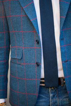Holland & Sherry Blazer men knitted tie blue