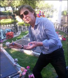 """On Sunday, May 26, 2013, British icon/rocker and former Beatles member Sir Paul McCartney made the rock 'n' roll pilgrimage to  Graceland where he left behind his personal guitar pick stating: """"So Elvis could play his guitar in heaven."""""""