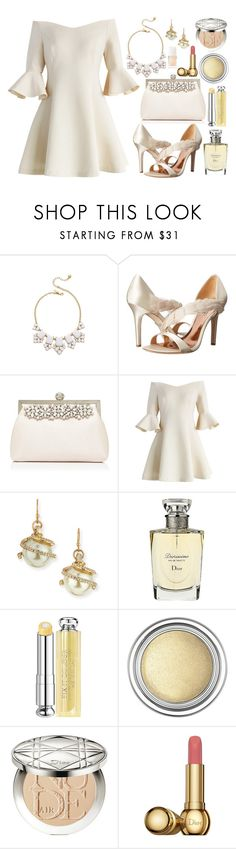 """Off-Shoulder Dress in White"" by bethy-s ❤ liked on Polyvore featuring Kate Spade, Badgley Mischka, Forever New, Chicwish, Lulu Frost and Christian Dior"