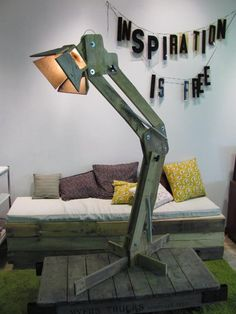 Standing rustic floor lamp made from recycled pallets. Can be arranged in a variety of positions. Spring loaded to assist in movement and has locking knobs for securing desired position. When fully extended stands approximately 6 feet tall. Fully adjustable. Creates very interesting appearance to #Diylighting #Floorlamp #Handmadelighting #Hugelighting #Lamp #Lighting #Lightingdesign #Recycle #Rusticlighting #Woodlamp #Woodworking