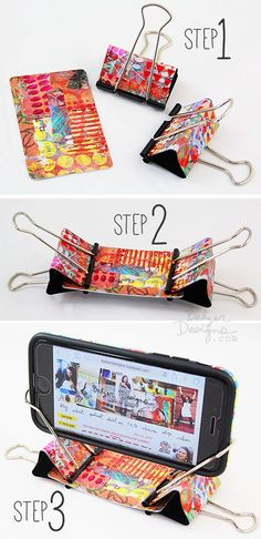 13 Ways to Organize with Binder Clips - Iphone Holder - Ideas of Iphone Holder - Binder Clip Phone Stand Diy Phone Stand, Desk Phone Holder, Iphone Holder, Diy Phone Holders, Card Holder, Cool Diy, Easy Diy, Clever Diy, Fun Crafts