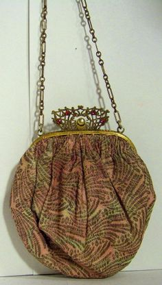 ANTIQUE ART NOUVEAU TRINITY PLATE PURSE BAG W/CHAINED MATCHING MIRROR ***WOW*** #TrinityPlate $60