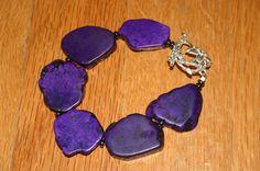 Purple Magnesite Bracelet Freeform by DharmaJewelry on Etsy, $30.00