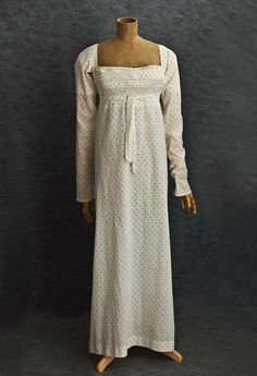 Bib Front Dress: ca. 1810, roller-printed cotton, lined with cotton; all hand-stitched.