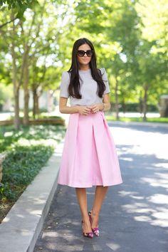 full midi skirt in pink