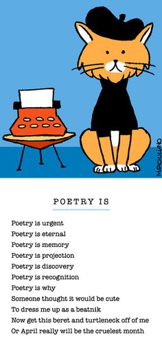 April is National Poetry Month.  Dig this crazy Beatnik Cat's poem.