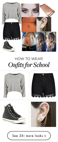"""""""School"""" by amyraines-1203 on Polyvore featuring Converse, City Chic, Embers Gemstone Jewellery and plus size clothing"""