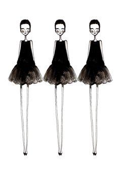 Fashion illustration, Little Black Dress, fashion print, fashion art, girl's room art, fashion drawing, LBD