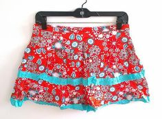 **NEW**Red and Aqua Blue Floral Mini Short Skirt Size XL New Free Shipping $9.99
