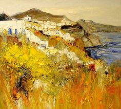 Kasbah in the Draa Valley Berber Village in Dad Valley Market in Roussillon Wild Grass at Walls The Oued Ouarzazate Ma. Contemporary Landscape, Landscape Art, Contemporary Artists, Landscape Paintings, Photographie Portrait Inspiration, French Artists, Art Oil, Painting Inspiration, Amazing Art