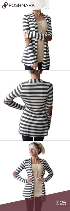 Striped cardigan with elbow patches Cotton blend grey & white cardigan with elbow patches. Stretchy material with turn down collar. Runs small, I recommend sizing up 1 size. Light weight sweater with caramel colored elbow patches. Sweaters Cardigans