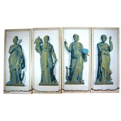 Set of Four Greek Goddesses Wallpaper Panels | From a unique collection of antique and modern wallpaper at https://www.1stdibs.com/furniture/wall-decorations/wallpaper/