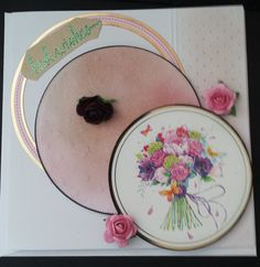 Floral best wishes 148mm square card using a Hunkydory topper