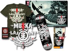 ELEMENT co-founder Johnny Schillereff asked Dave Parmley and I while at 13THFLOOR to create a series of logos for for their legendary team riders, BAM Margera, Mike Vallely, Bucky Lasek and Chad Muska. Here is the Muska logo designs, print ad campaign concepts, web application and product graphics.