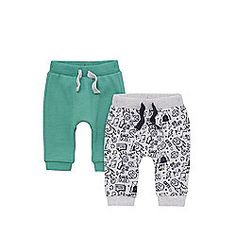 F&F 2 Pack of Printed and Plain Harem Joggers 09-12 months Multi