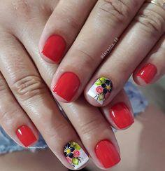 89 Melhores decorações do grupo de Unhas Decoradas Cute Pedicure Designs, Nail Designs, Mani Pedi, Manicure And Pedicure, Red Nails, Hair And Nails, Cute Pedicures, Flower Nails, Short Nails