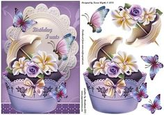 Floral Cupcake Flutter on Craftsuprint designed by Karen Wyeth - A lovely cupcake quick card topper with additional cupcake decoupage items, and butterfly embellishments. xk - Now available for download!
