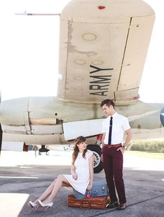 A Sweet Vintage Engagement Session at an Aeroplane Hangar from Vine and Light Photography