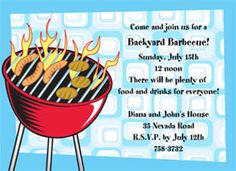 "Grillin'  Party Invitation  6 3/4"" x 4 7/8""  Full Color as shown  $11.00 for 8 Invitations"