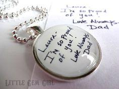 Custom Handwriting Keychain OR Necklace by LittleGemGirl on Etsy