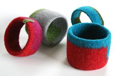 Patty Benson New Wristcuffs - Geometric design  First crocheted, then wet felted wool/mohair wrist cuffs. In two sizes.