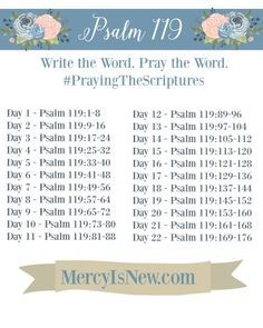 Psalm 119 Write the Word Pray the Word Bible verses Bible Study Plans, Bible Plan, Bible Study Tools, Bible Study Journal, Scripture Journal, Writing Plan, Writing Challenge, Prayer Scriptures, Bible Prayers