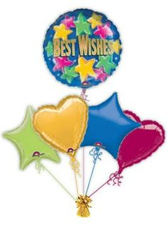"""Rise to the occasion with helium filled balloons. Send this low cost, top quality """"Best Wishes Star Bright"""" balloon to brighten up someones day. Helium filled balloons in a box delivered by free post. Send warm wishes. Get Well Balloons, Helium Filled Balloons, Wish"""