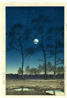 Hasui: Bare Trees, Full Moon