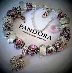 Authentic Pandora Silver Bracelet  Love  N  Pink   Amour Heart European Charms…