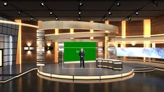 The orange tone decoration with geometrical tubes, columns, and curved wall design enriches the scene. This virtual set suits interview, news, introduction type of TV programs really we Virtual Studio, Wall Design, Studios, Mansions, Orange, House Styles, Cook, Recipes, Mansion Houses