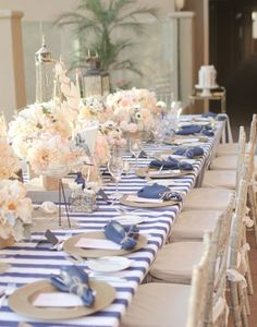 Primera comunion Marinero / fiesta inspiracion nautica Mantel a rayas azul How to plan and DIY your way to the perfect nautical themed wedding Decoration Table, Reception Decorations, Wedding Centerpieces, Wedding Table, Our Wedding, Dream Wedding, Ideas Bautizo, Bridal Shower Favors, Bridal Showers
