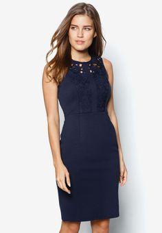 Buy Dorothy Perkins Petite Navy Lace Pencil Dress Online | ZALORA Malaysia